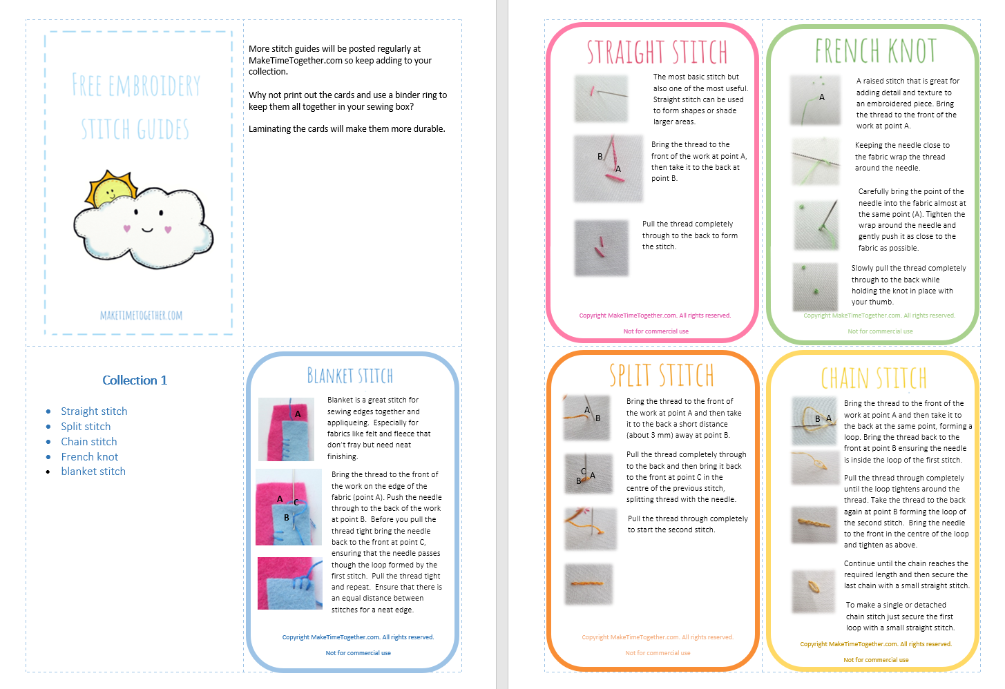 Free printable Embroidery Stitch Guide – Collection 20 – Make Time ...